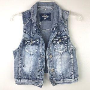Vanity | Distressed Cropped Denim Vest